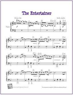 The Entertainer (Joplin) | Printable Sheet Music for Intermediate Piano Solo - http://makingmusicfun.net/htm/f_printit_free_printable_sheet_music/the-entertainer-level-five.htm