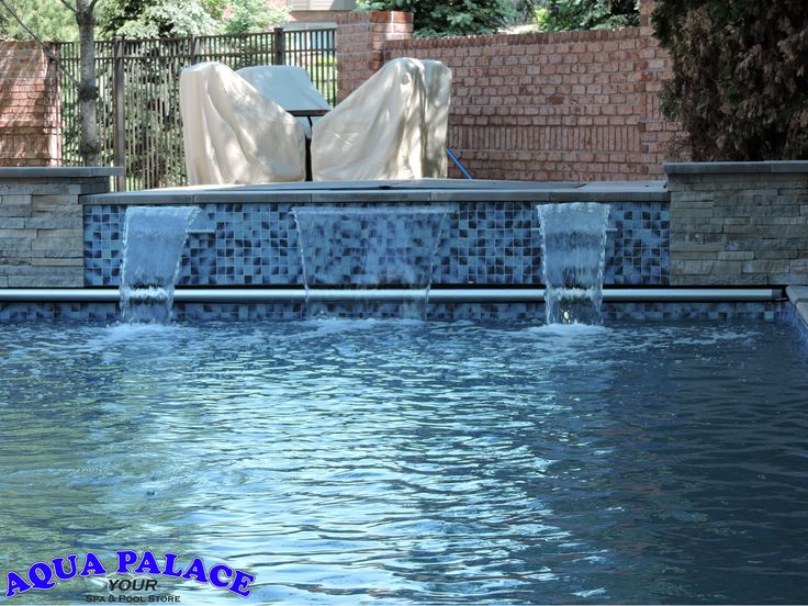 Fibergl Inground Pool With Custom Water Features Tile And Auto Cover Enjoy The Hot