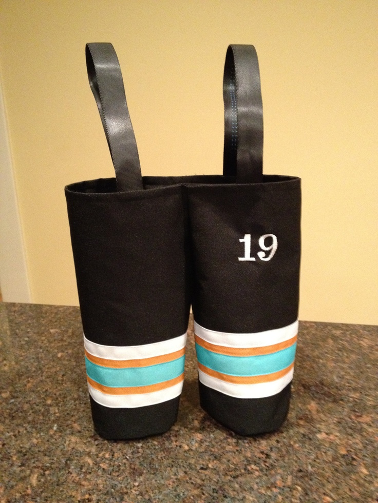 Hockey pants wine bottle gift bag by 2Bosse on Etsy, $25.00