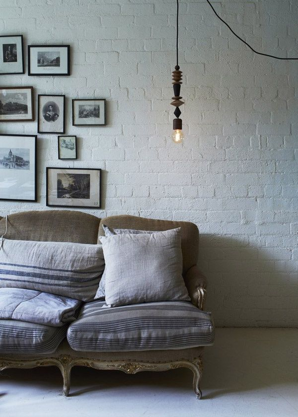 couch and linen pillows | white and rustic