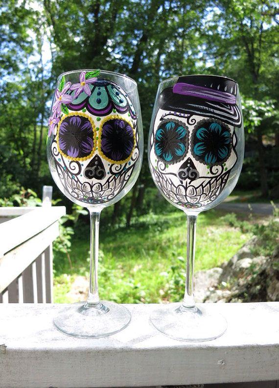 Hand painted sugar skull couple wine glass by ArianaVictoriaRose