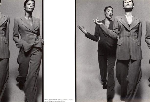 Photo by Michel Comte 1995 Carla Bruni, Helena Christensen, Monica Bellucci Tailleur by Giorgio Armani Vogue Italia, July 1995