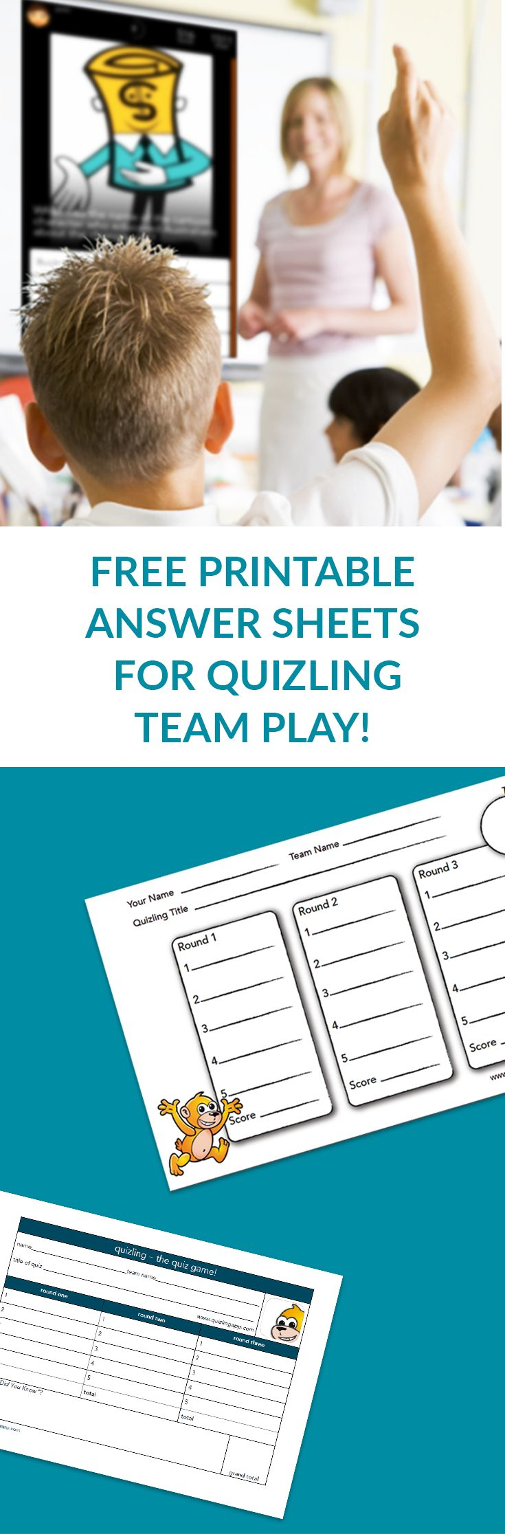 Quizling Classroom Activity idea for teachers: Have your class play a quiz on Quizling in teams! Plug your device into a smart board or projector then have your teams write their answers on these free printable answer sheets. Teachers can make the best use of educational technology by integrating it to lessons.  Download PDF Printables here(copy and paste) ow.ly/GSqY304n9CZ   ow.ly/SegE304n9Fw