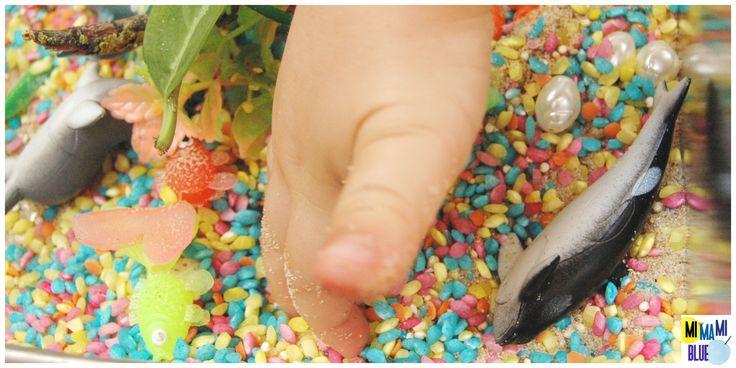 Caja sensorial : playa multicolor. #sensorybox