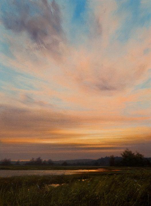 """Smouldering October Skies,"" by Renato Muccillo  11 x 15 - oil"