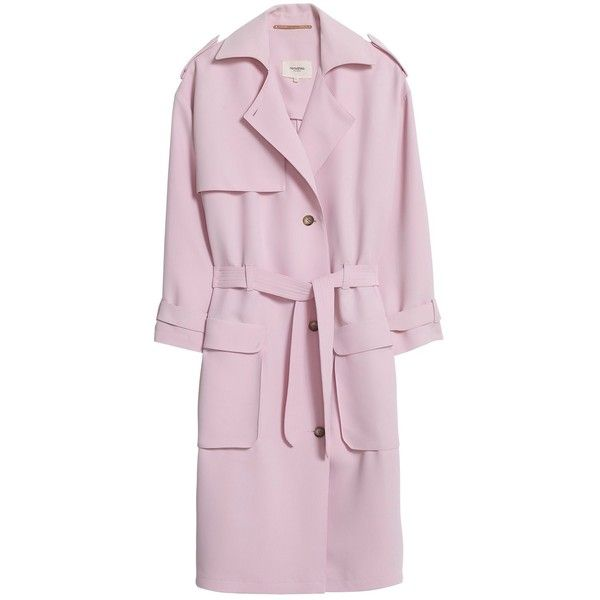 Nanushka Maison trench coat (8.875 ARS) ❤ liked on Polyvore featuring outerwear, coats, jackets, light rosa, trench coat, tie belt, wrap trench coat, wrap coat and light pink trench coat