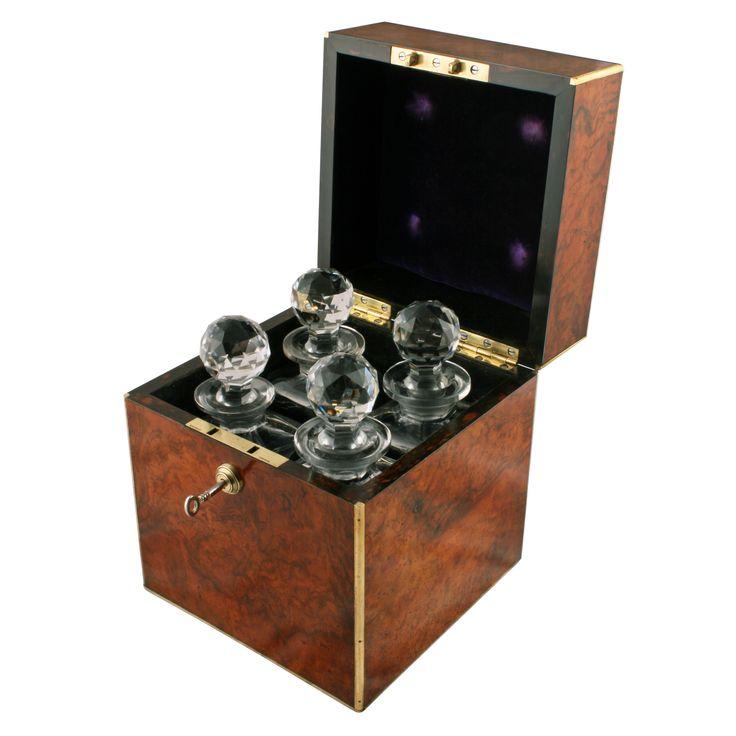 Burr Walnut & Brass Decanter Box