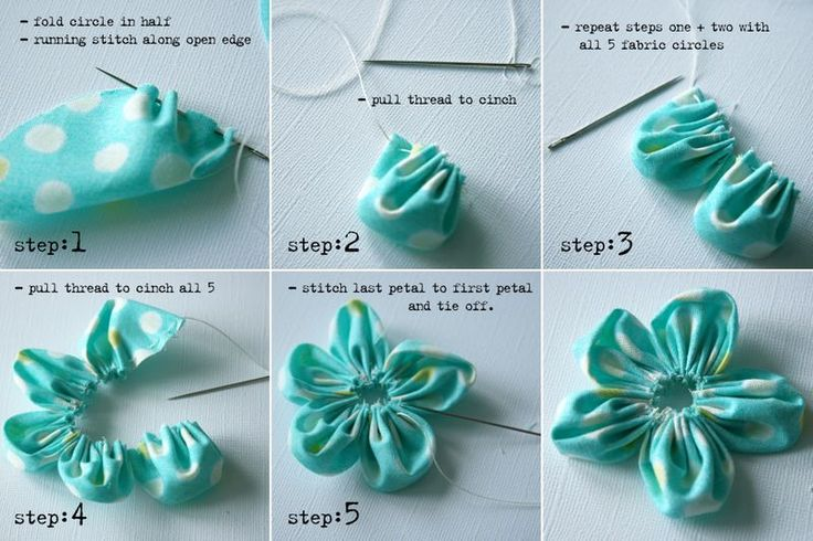 """How to make circle flowers. Pinner says,  """"I've just made one of these - i added a yo-yo made in the normal way {same size as petals} to the center and a button to hide the hole :D"""""""