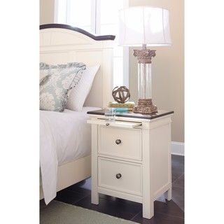 Shop for Signature Design by Ashley Woodanville White Two Drawer Night Stand. Get free shipping at Overstock.com - Your Online Furniture Outlet Store! Get 5% in rewards with Club O! - 20865905