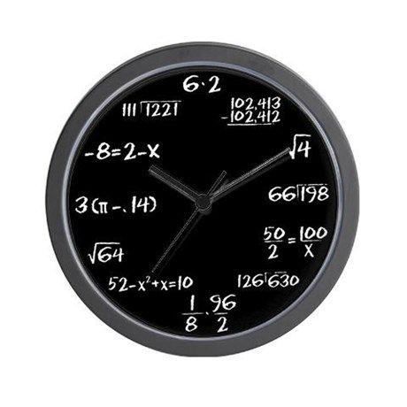 White chalk on Blackboard Math Wall Clock on CafePress.com