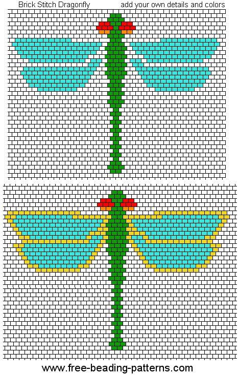 Dragonfly - brick stitch beadwork design - free pattern