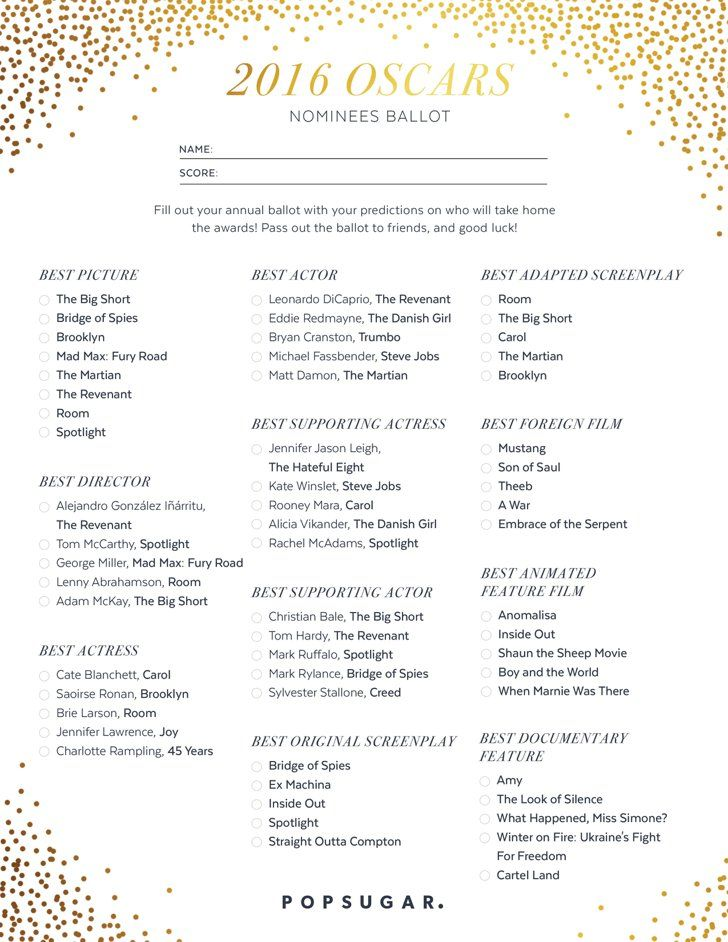 Pin for Later: This Is the Printable Oscar Ballot You Need For Your Viewing Parties