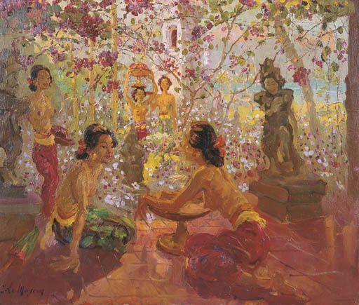 Adrien Jean Le Mayeur De Merprés - Women in the garden preparing offering