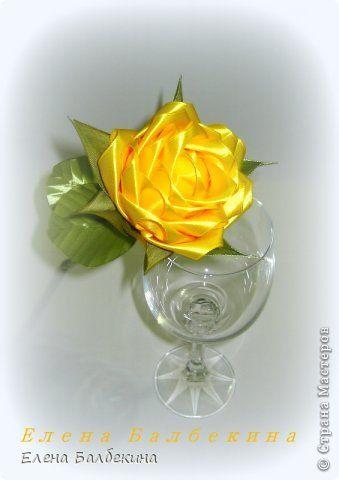 Мастер-класс Поделка изделие Цумами Канзаши Желтая роза подробный МК  Ленты Проволока фото 1