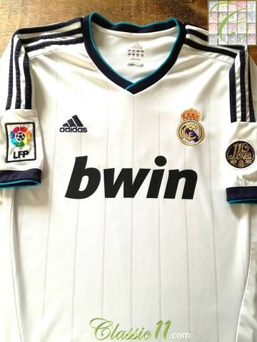 80c4233bb Official Adidas Real Madrid home football shirt from the 2012 13 season.  Complete with