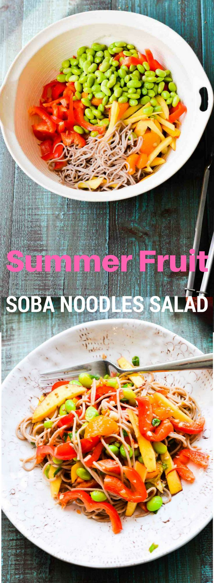 A refreshing noodle salad features edamame, nectarine, mandarin oranges, soba noodles and spicy sesame dressing. This  noodles salad has summer written all over it!! Addicting and satisfying!