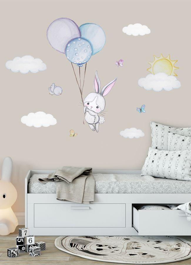 Bunny Nursery Wall Decal Bunny Wall Decal Boy Bunny Balloon Wall
