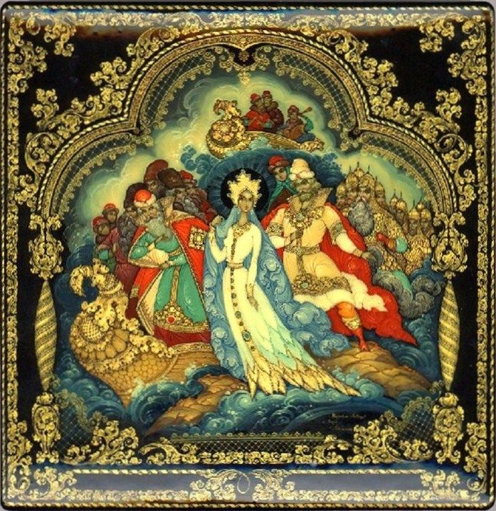 Russian lacquer miniature from the village of Palekh. Illustration to a fairy tale: a beautiful princess, a young prince and his father.