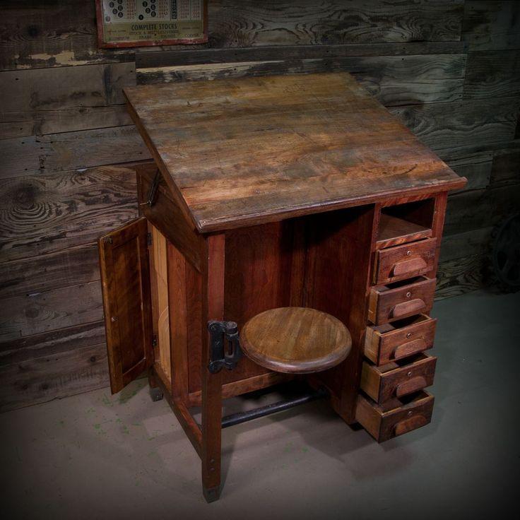 Industrial Style Drafting Table w/ Swing Stool 5 Drawers Filing Cabinet FREE SHIPPING