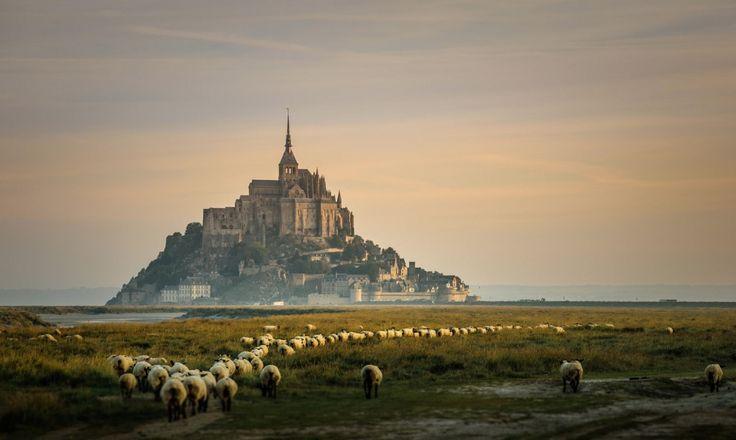 Неприступный замок Мон-Сен-Мишель, со всех сторон окруженный морем, — одна из самых популярных достопримечательностей Франции после Парижа. Построенный в 709 году, он до сих пор выглядит ошеломляюще.   Источник: https://www.adme.ru/svoboda-puteshestviya/hochu-v-zamok-722460/ © AdMe.ru