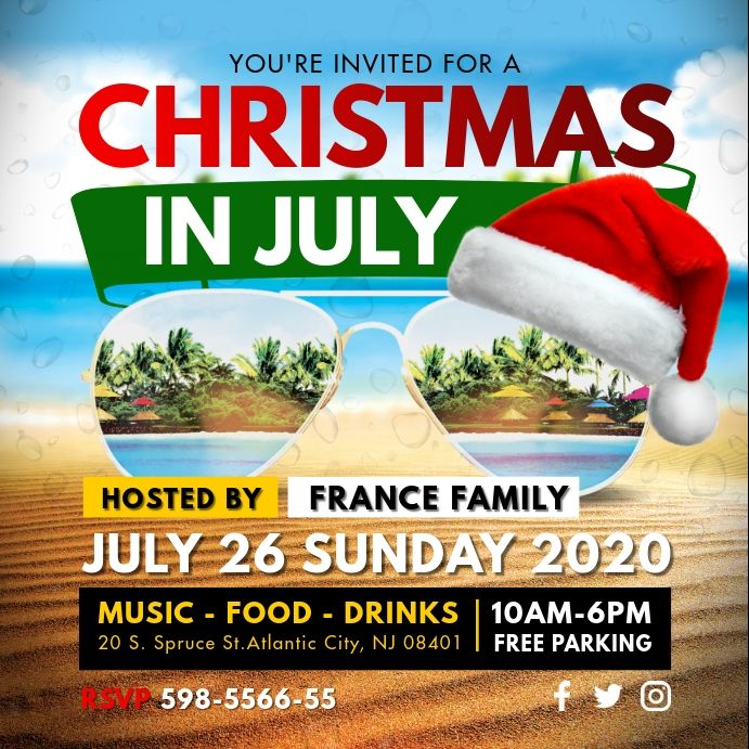 Christmas In July Local Party Invitation Party Invite Template Summer Party Invitations Social Media Template
