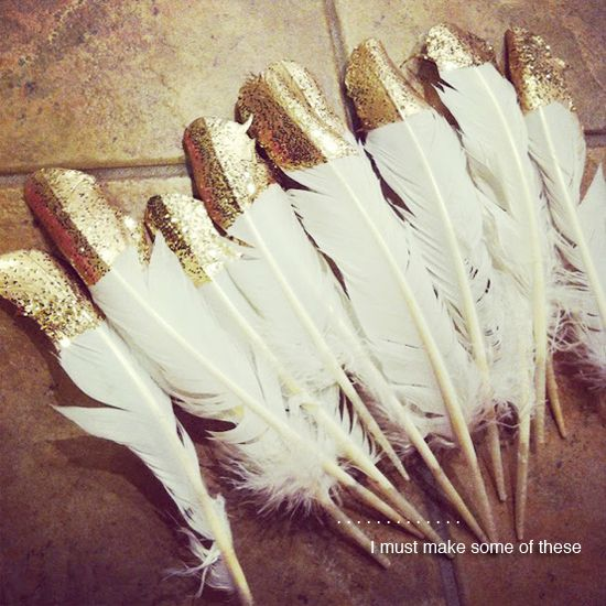 I like the idea of gold glitter dipped feathers, maybe if I found mint feathers?!