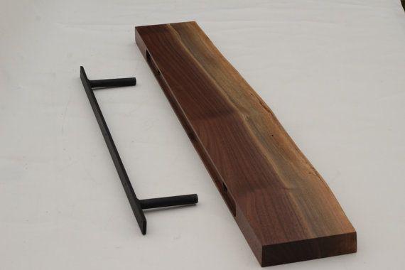 Black Walnut Live edge floating shelf Item #70 Complete with Mounting Bracket…