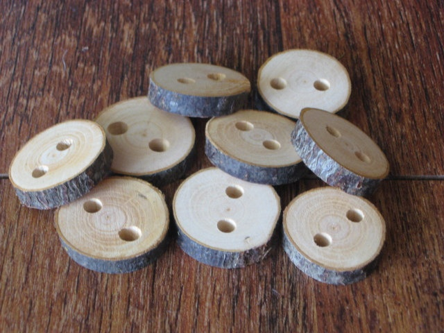 Raw Tree Branch Buttons with Natural Bark by JANDKBUTTONS on Etsy, $7.25