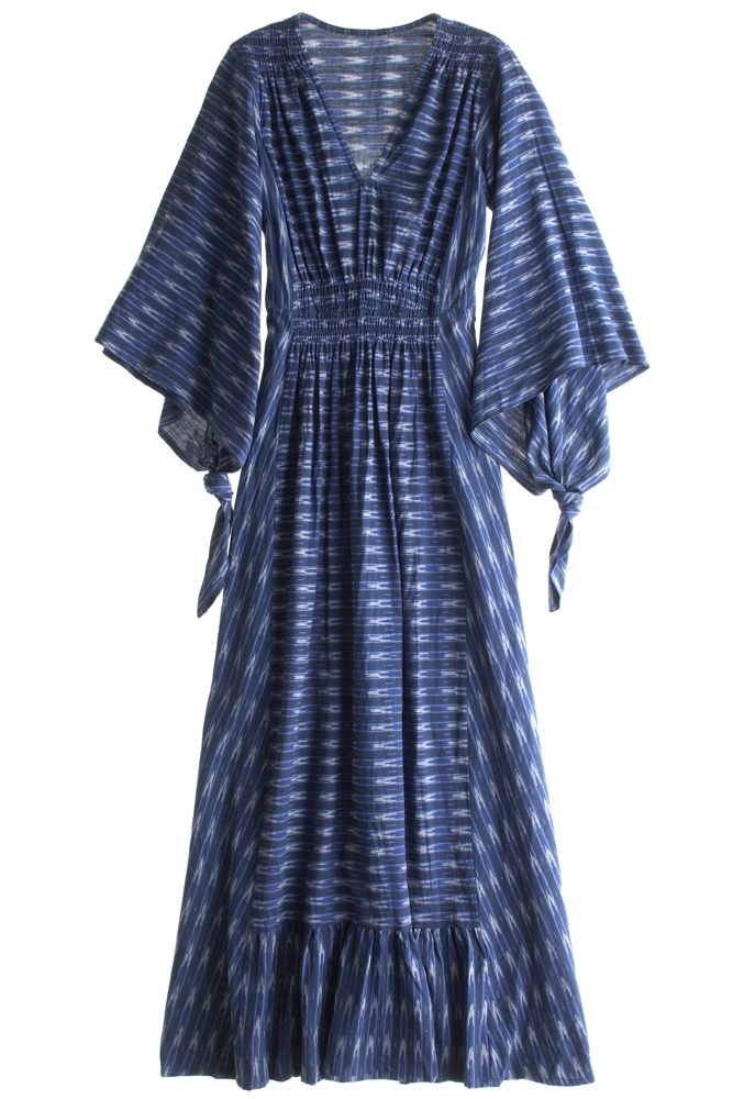 Blue Ikat caftan dress