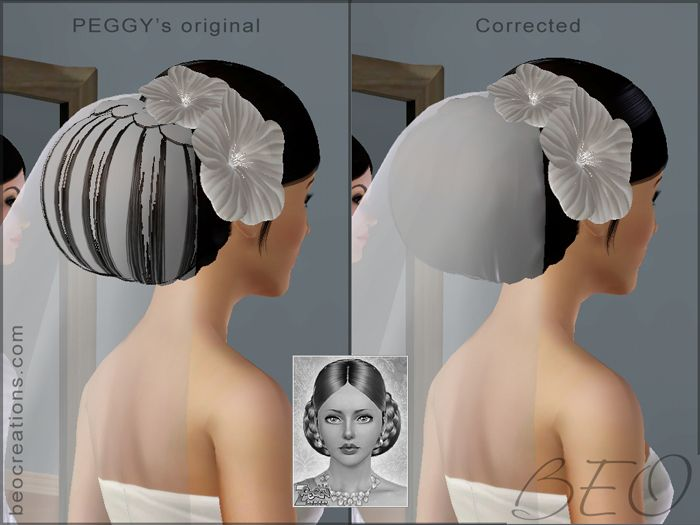 corrected peggy's hair for Sims 3 by BEO