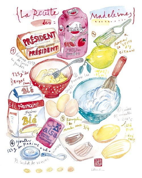 Cake illustration - French cake recipe - LES MADELEINES - Food art - The kitchen poster collection via Etsy.