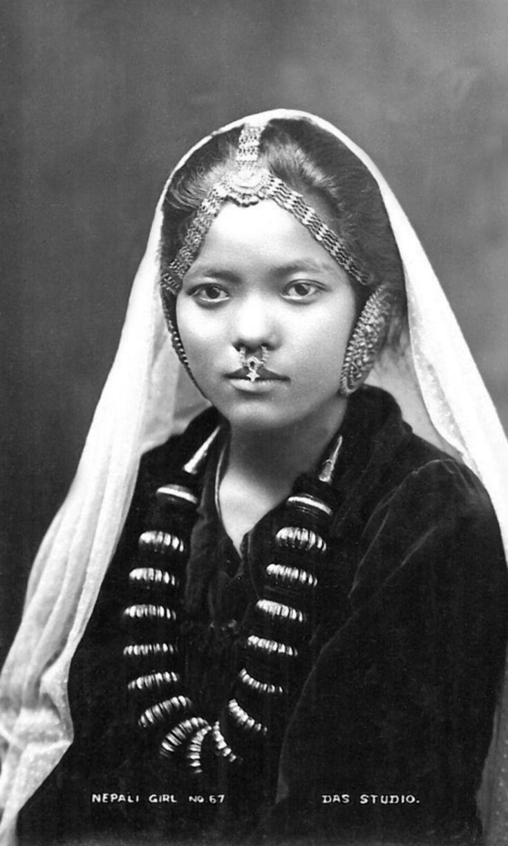 """Nepali Girl"". ca. 1920 || Vintage postcard; publisher DAS Studio. No 67"