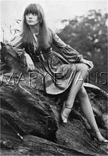 """mickjaggugh: """" Jane Asher modelling a dress by The Fool, 1968 The multicouloured roundneck style was available at the Apple Boutique. From the Jane Asher photo blog Sorry for the bad quality! """""""