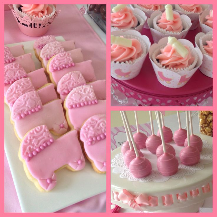 Butter cookies cupcakes and cake pops all for a baby girl baptism