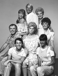 Cast of the first life of Mama's Family (left to right in ascending order): Vinton, Naomi, Ed (recurring character), Ellen (recurring), Fran, Sonja, Thelma, and Buzz