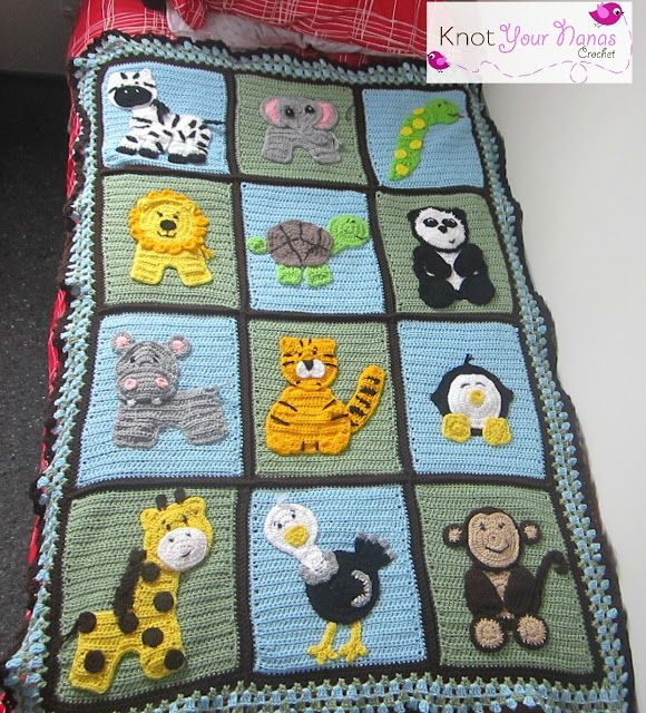 Knot Your Nana's Crochet: Zoo Blanket ...with patterns for all of the animal appliques! ༺✿Teresa Restegui http://www.pinterest.com/teretegui/✿༻