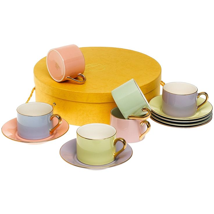 Yedi Houseware Classic Coffee and Tea Solid Teacups and Saucers, Assorted Pastel/Gold , Set of 6