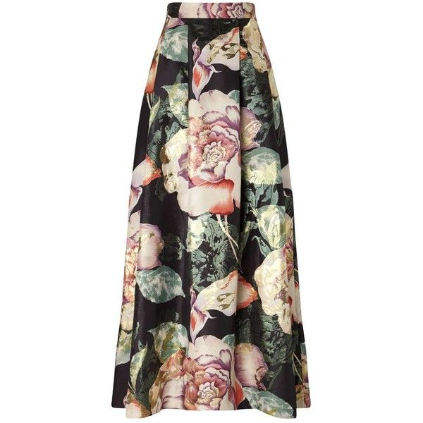 Miss Selfridge Floral Print Maxi Skirt found on Polyvore featuring skirts, bottoms, assorted, maxi skirt, long skirts, metallic maxi skirt, floral maxi skirt and floor length skirts