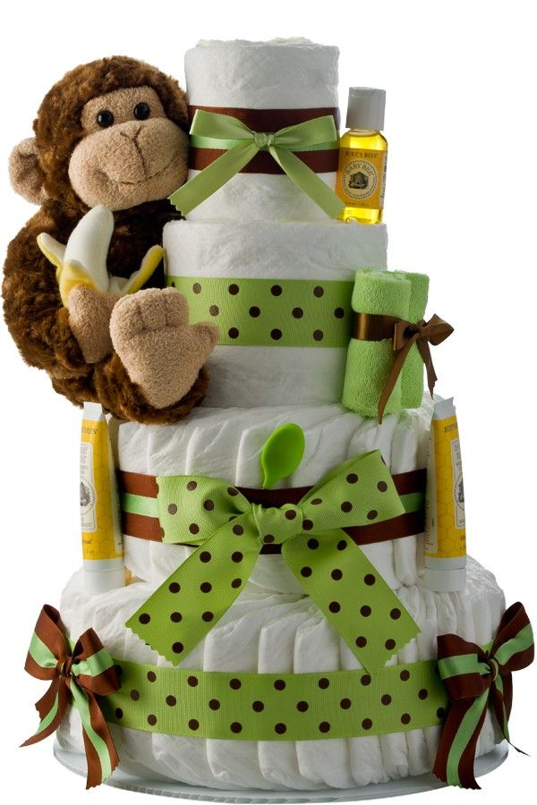 Monkey 4 Tier Diaper Cake: Unique Diaper Cake Gifts For Diaper Shower