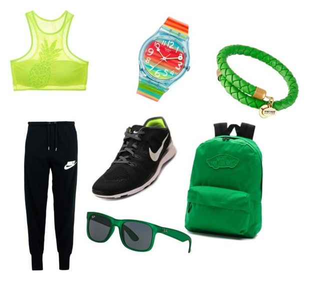 """""""Gymnastik time"""" by mariuccia1 on Polyvore featuring NIKE, Victoria's Secret, Swatch, Alex and Ani, Vans and Ray-Ban"""