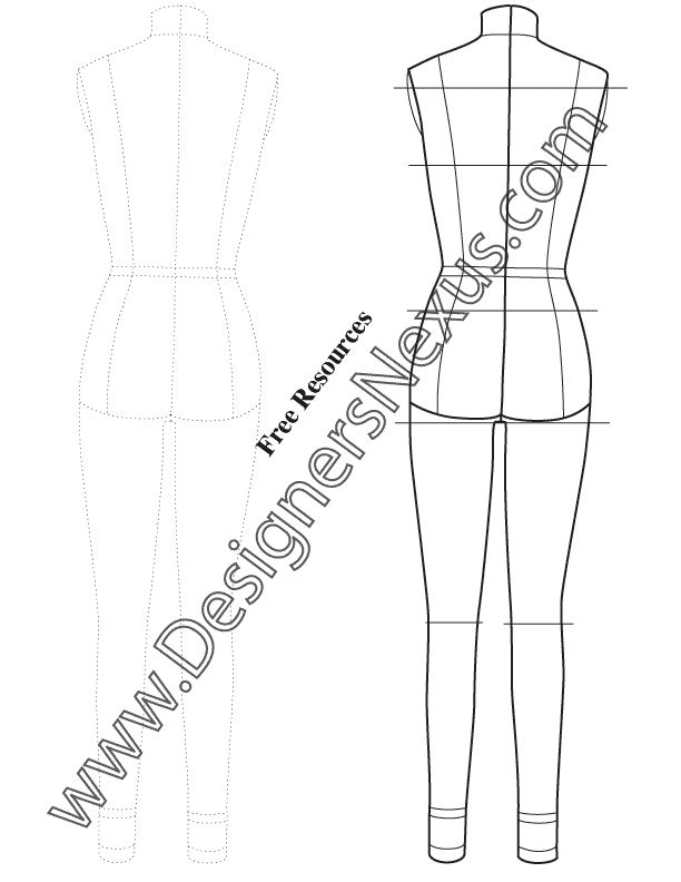 9 best technical drawing fashion figure templates images on real body proportion female fashion dress form template sketch v7 back view free download in pronofoot35fo Gallery