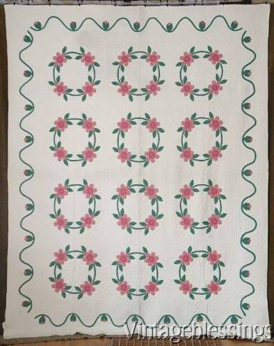 Masterpiece-Vintage-1930-40s-Applique-Rose-Of-Sharon-QUILT-Dense-Quilting-GIFT