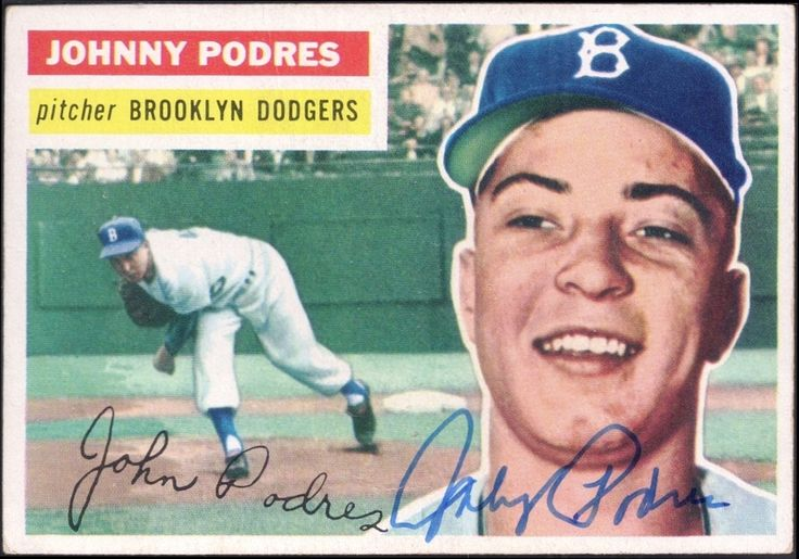 1956 Topps Johnny Podres autograph