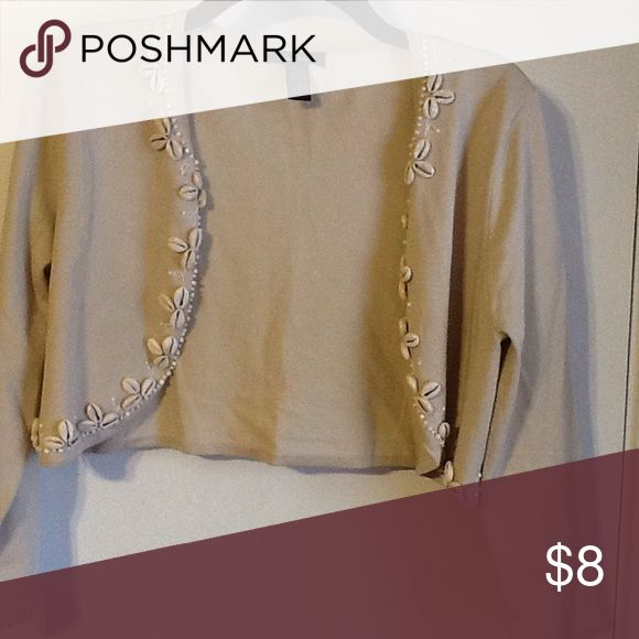 Cardigan by Susan Lewis size M Tan open front cardigan long sleeved cute shell details silk rayon nylon in very good condition Susan Lewis Sweaters Cardigans