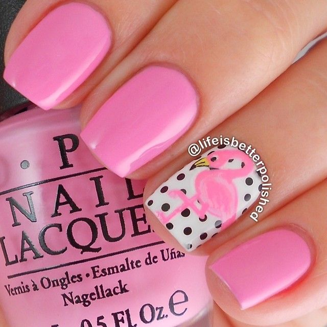 Pink flamingo and polka dots ===== Check out my Etsy store for some nail art supplies https://www.etsy.com/shop/LaPalomaBoutique