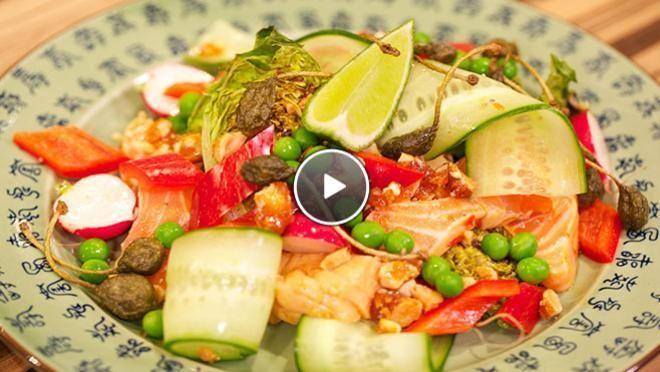 Salade van in limoen gegaarde zalm - recept | 24Kitchen