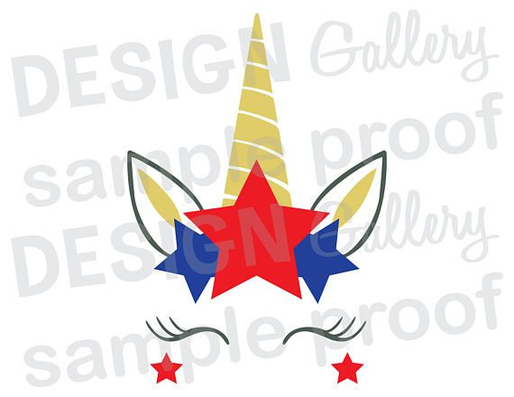 Unicorn Face  JPG png & SVG DXF cut file Printable Cricut Silhouette USA Patriotic fourth of July 4th Independence Day red white blue flag girl miss