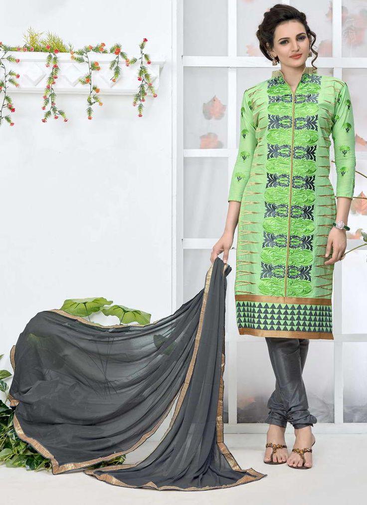 Parrot Cotton Embroidery Designer Salwar Suit