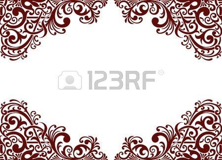 vintage barokní hranice rám karta pozadí květ motiv arabština retro vzor vyšperkovaný photo