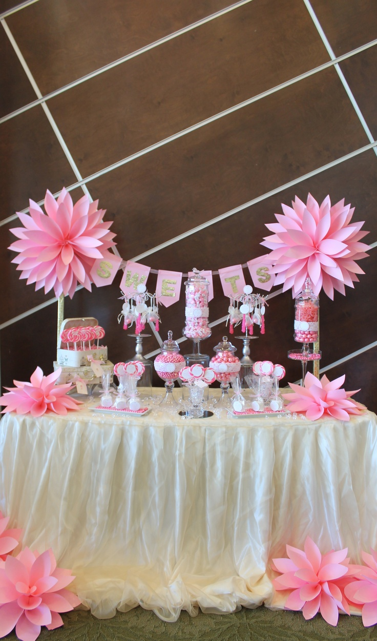 BY TASTY TABLES: pink candy buffet, pink flowers, paper flowers, candy buffet san diego, wedding